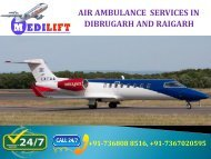 Hire Most Effective and Safe Air Ambulance Services in Dibrugarh and Raigarh by Medilift