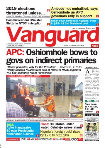 21092018 - APC: Oshiomhole bows to govs on indirect primaries