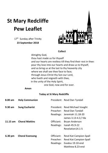 St Mary Redcliffe Church Pew Leaflet - September 23 2018