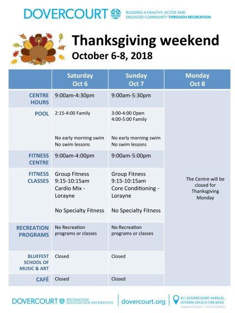 Dovercourt Thanksgiving 2018 schedule