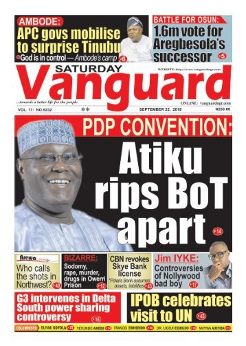 22092018 - PDP Convention: Atiku rips BoT apart ...As Jibrin cancels press briefing