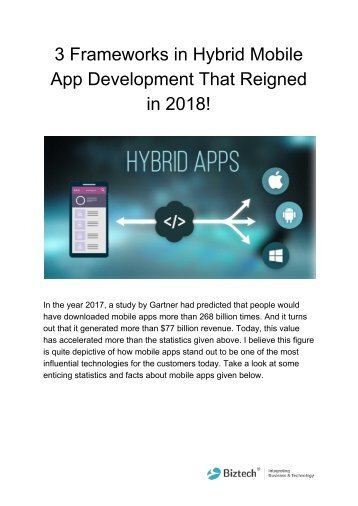 3 Frameworks in Hybrid Mobile App Development That Reigned in 2018!