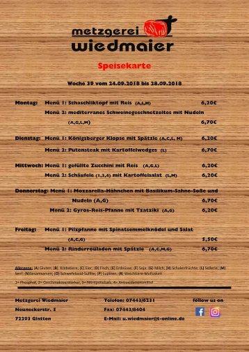 Speisekarte Glatten KW 39