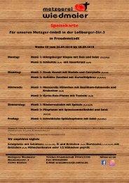 Speisekarte Loßburgerstr. Kw 39