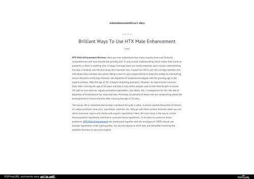 HTX Male Enhancement Reviews