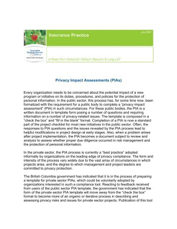 Privacy Impact Assessments (PIAs) - Alexander Holburn Beaudin ...
