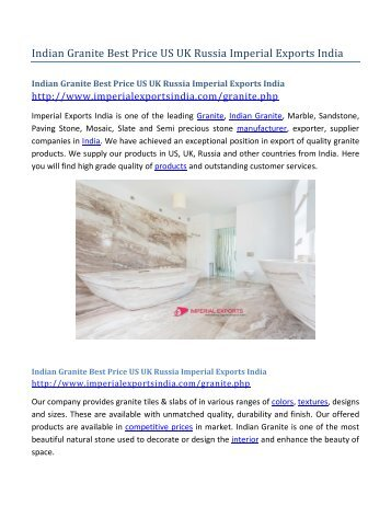 Indian Granite Best Price US UK Russia Imperial Exports India