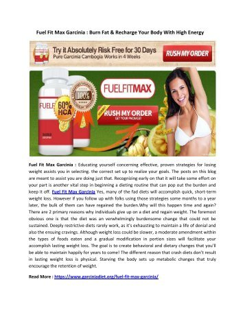 Fuel Fit Max Garcinia : Lose Belly Fat in Two Weeks Quickly and Naturally