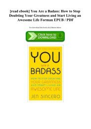 [read ebook] You Are a Badass How to Stop Doubting Your Greatness and Start Living an Awesome Life Forman EPUB  PDF