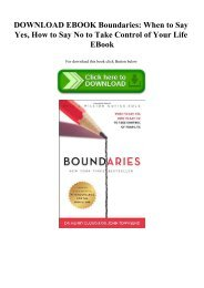 DOWNLOAD EBOOK Boundaries When to Say Yes  How to Say No to Take Control of Your Life EBook