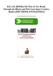 R.E.A.D. [BOOK] The War of Art Break Through the Blocks and Win Your Inner Creative Battles [PDF EBOOK EPUB KINDLE]