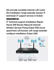 Dubai wifi internet Du technician home villa IT services