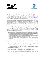 Questionnaire o of a privacy impact assessment The PIAF ...