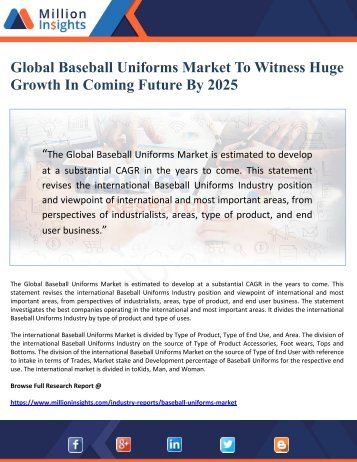 Global Baseball Uniforms Market To Witness Huge Growth In Coming Future By 2025