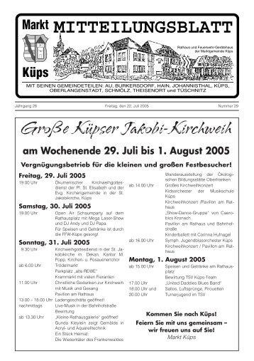 Wochenende 29. Juli bis 1. August 2005 - Markt Küps