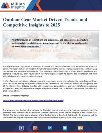 Outdoor Gear Market Driver, Trends, and Competitive Insights to 2025