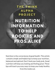 Nutrition Information To Help Rookies And Pros Alike