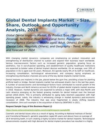 Global Dental Implants Market Trend, Share and Forecast till 2024