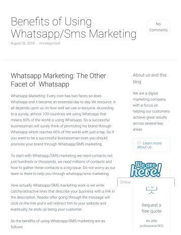 Benefits of Using Whatsapp and Sms Marketing - SanBrains