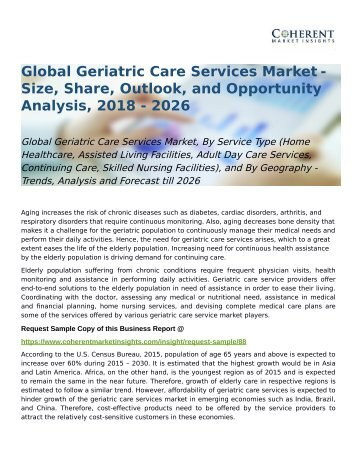 Global Geriatric Care Services Market Trends, and Forecast till 2026