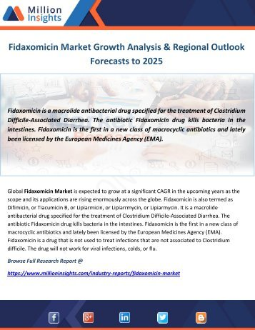 Fidaxomicin Market Growth Analysis & Regional Outlook Forecasts to 2025