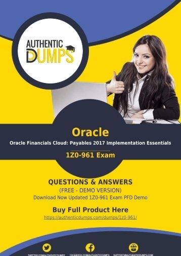1Z0-961 Dumps PDF | Updated Oracle Cloud 1Z0-961 Exam [PDF] 2018