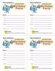 Dovercourt Birthday invites, for parties at McKellar