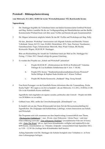 Protokoll 25 1 2012 - Bildungscluster Krems