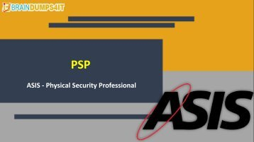 PSP Exam Dumps with Authentic PSP Exam Questions