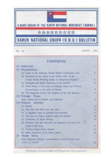 KNU Bulletin No. 25, August 1991