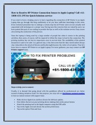 How to Resolve HP Printer Connection Issues to Apple Laptop? Call +61-1800-431-295 for Quick Solution service