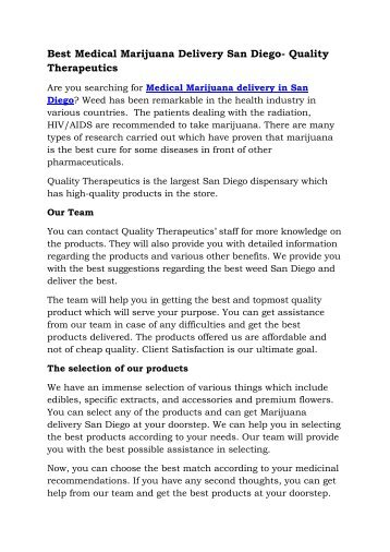 Weed or Medical Marijuana Delivery San Diego – Quality Therapeutics