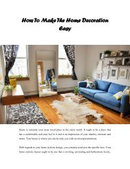 How To Make The Home Decoration Easy