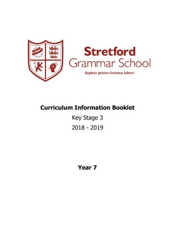 Year 7 Curriculum Information Booklet 2018 - 2019