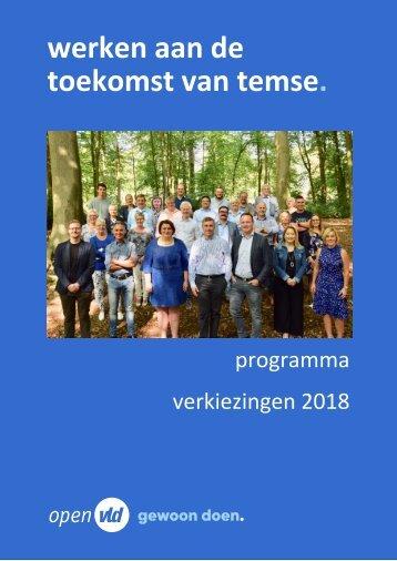 Open Vld Temse, programma gemeenteraadsverkiezingen 2018