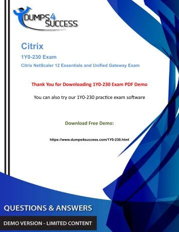 Updated 1Y0-230 Dumps - Want To Pass 1Y0-230 Citrix NetScaler Gateway Exam Immediately