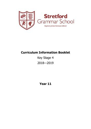 Year 11 Curriculum Information Booklet 2018 - 2019