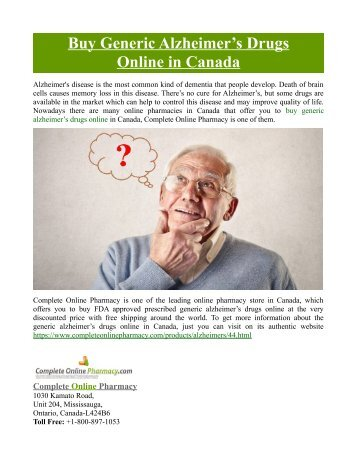 Buy Generic Alzheimer's Drugs Online in Canada
