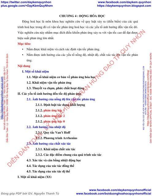 CHƯƠNG 4-5 ĐỘNG HÓA HỌC - CÂN BẰNG HÓA HỌC