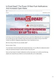 Is Email Dead The Power Of Web Push Notifications And Increased Open Rates