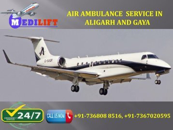 Air Ambulance Service in Aligarh and Gaya