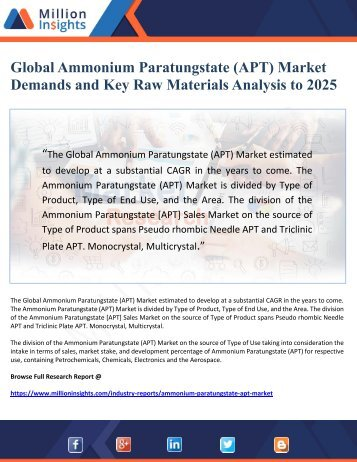 Global Ammonium Paratungstate (APT) Market Demands and Key Raw Materials Analysis to 2025