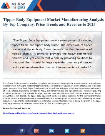 Tipper Body Equipment Market Manufacturing Analysis  By Top Company, Price Trends and Revenue to 2025