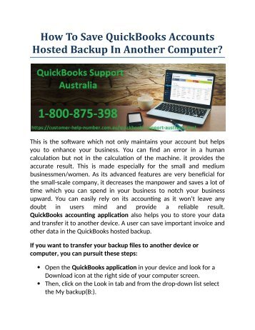 How To Save QuickBooks Accounts Hosted Backup In Another Computer?