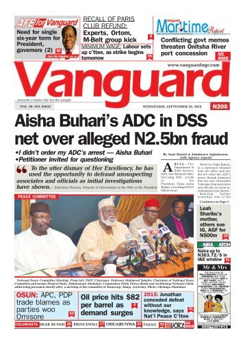 26092018 - Aisha Buhari's ADC in DSS net over alleged N2.5bn fraud