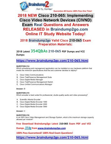 (2018-Sep-Version)New 210-065 VCE and 210-065 PDF Dumps Free Share(Q214-Q224)