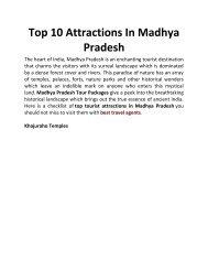 Top 10 Attractions In Madhya Pradesh