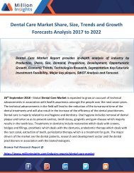 Dental Care Market Share, Size, Trends and Growth Forecasts Analysis 2017 to 2022