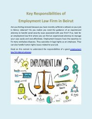 Key Responsibilities of Employment Law Firm in Beirut