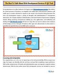The Best To Talk About Web Development Services @ QL Tech